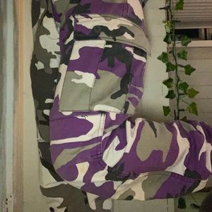 Grey and purple cargo pants